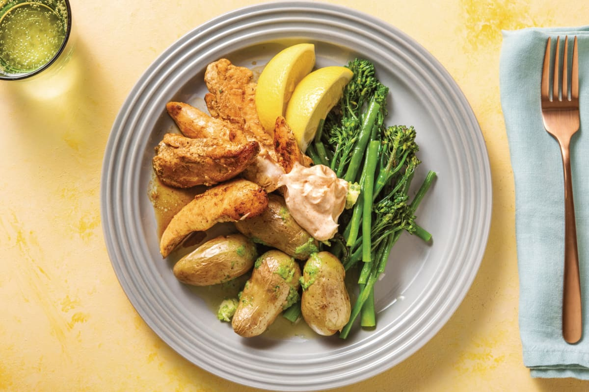 Spiced Chicken Tenders with Potatoes & Lemon Greens