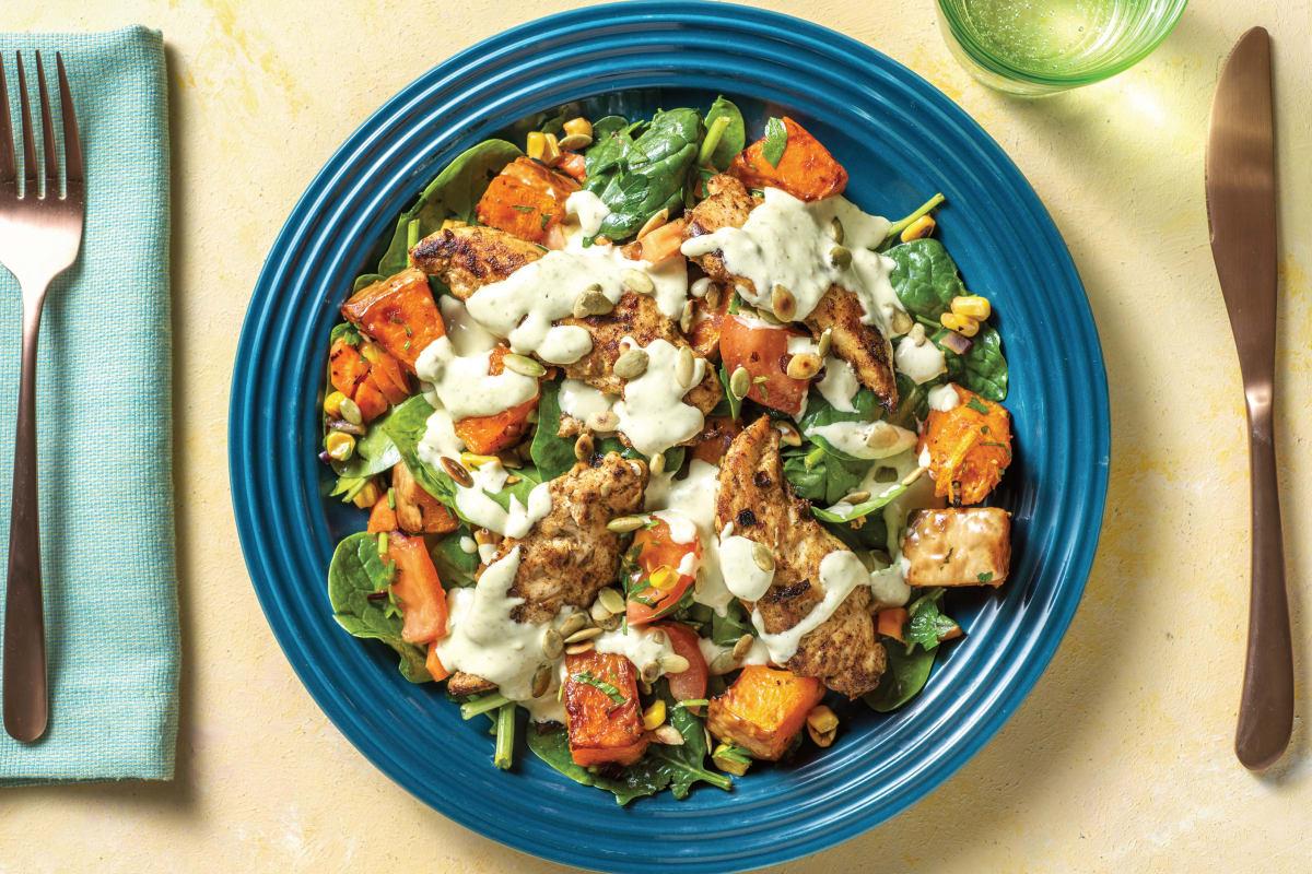 Spiced Chicken with Roast Pumpkin Salad
