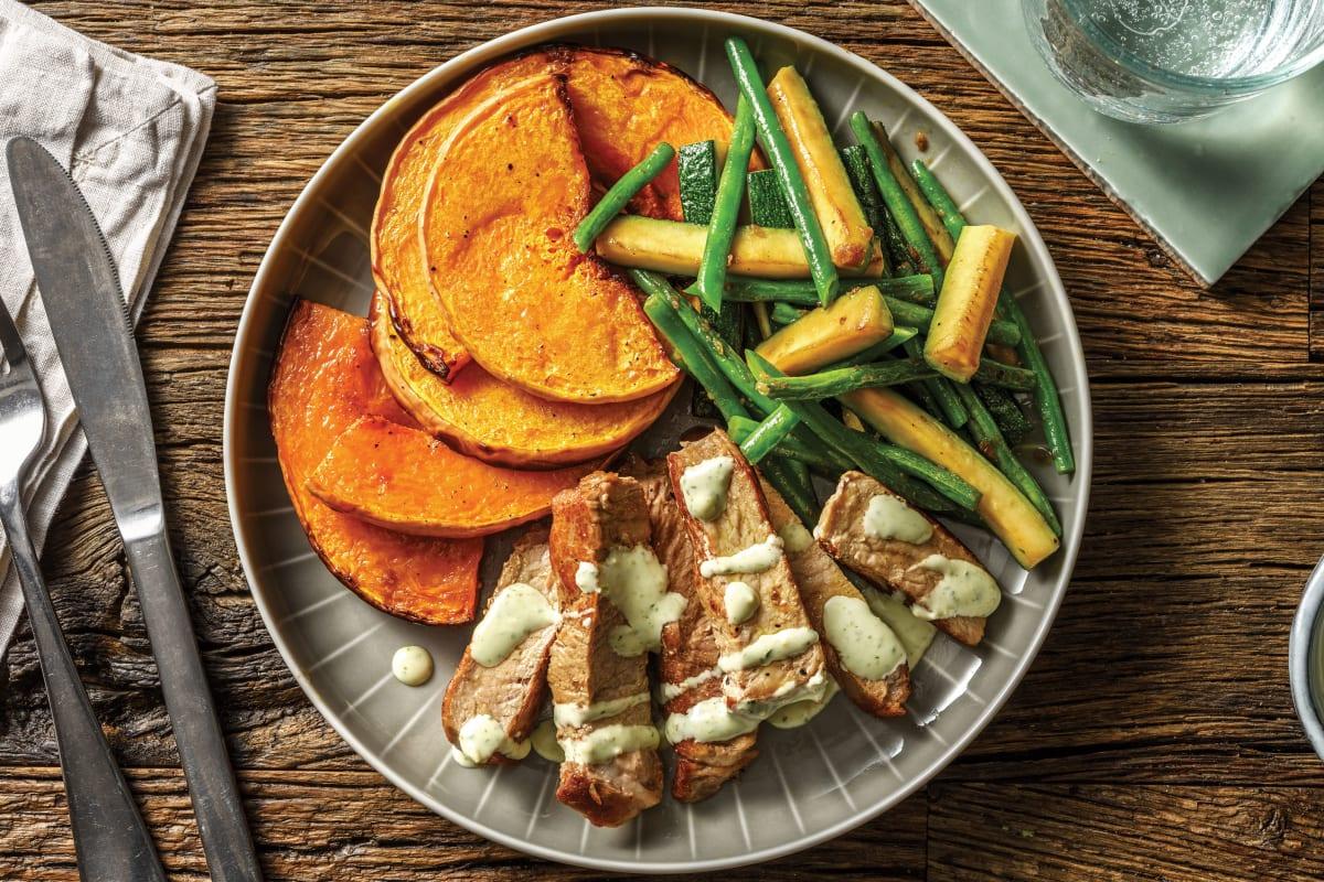 Spiced Pork & Garlic-Herb Pumpkin Wedges