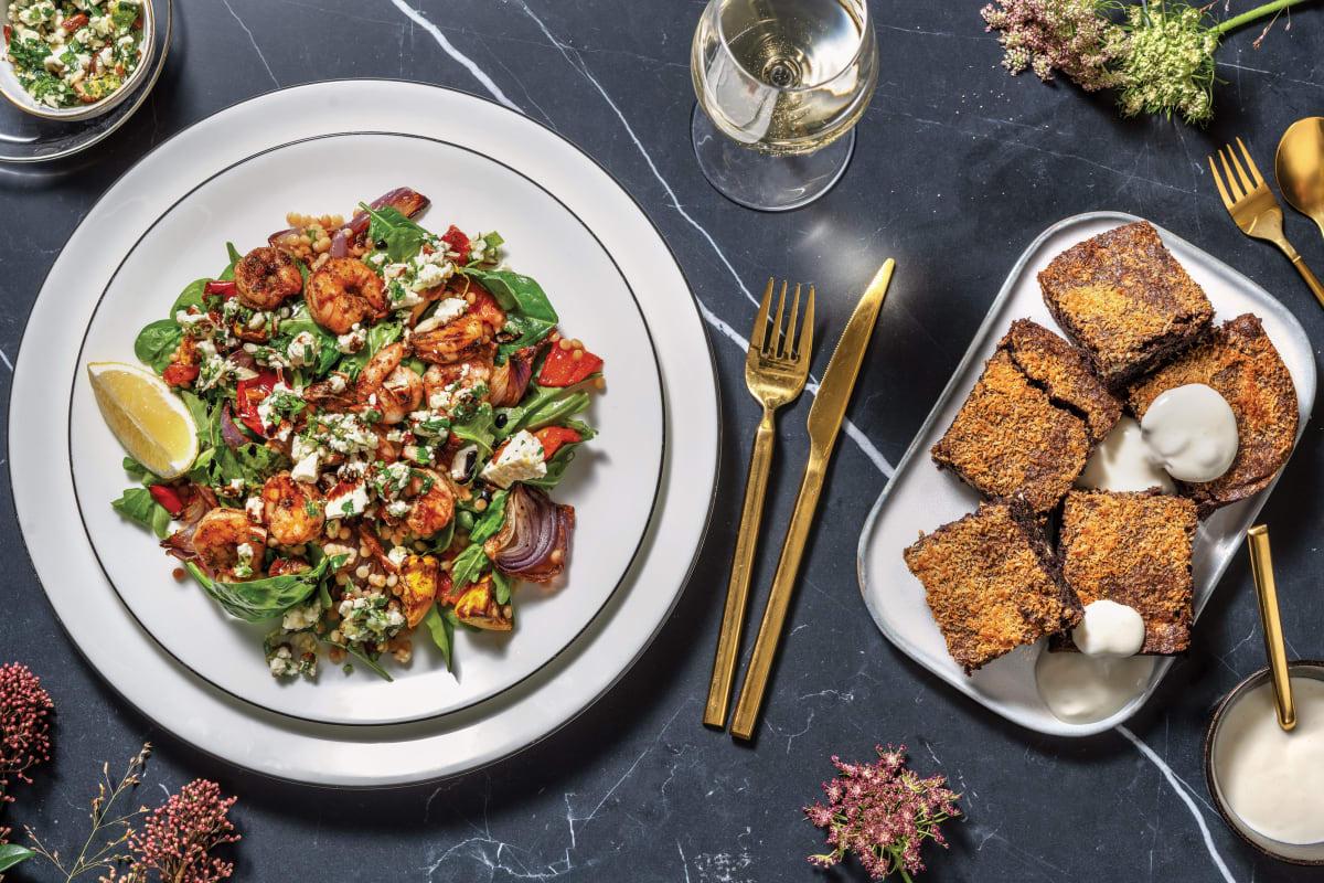 Spiced Prawns & Veggie Pearl Couscous with Nutty Garlic Fetta & Balsamic Glaze