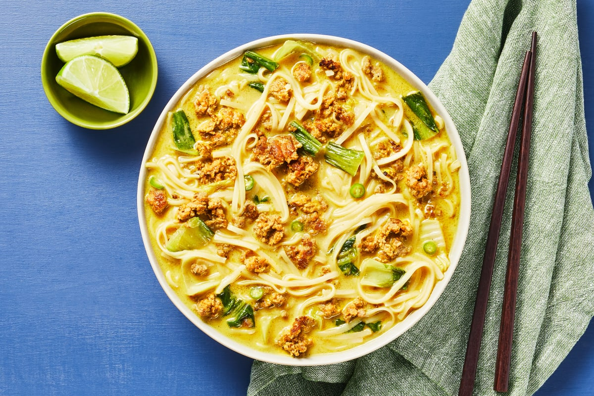 Spicy Coconut Curry Pork Noodle Soup