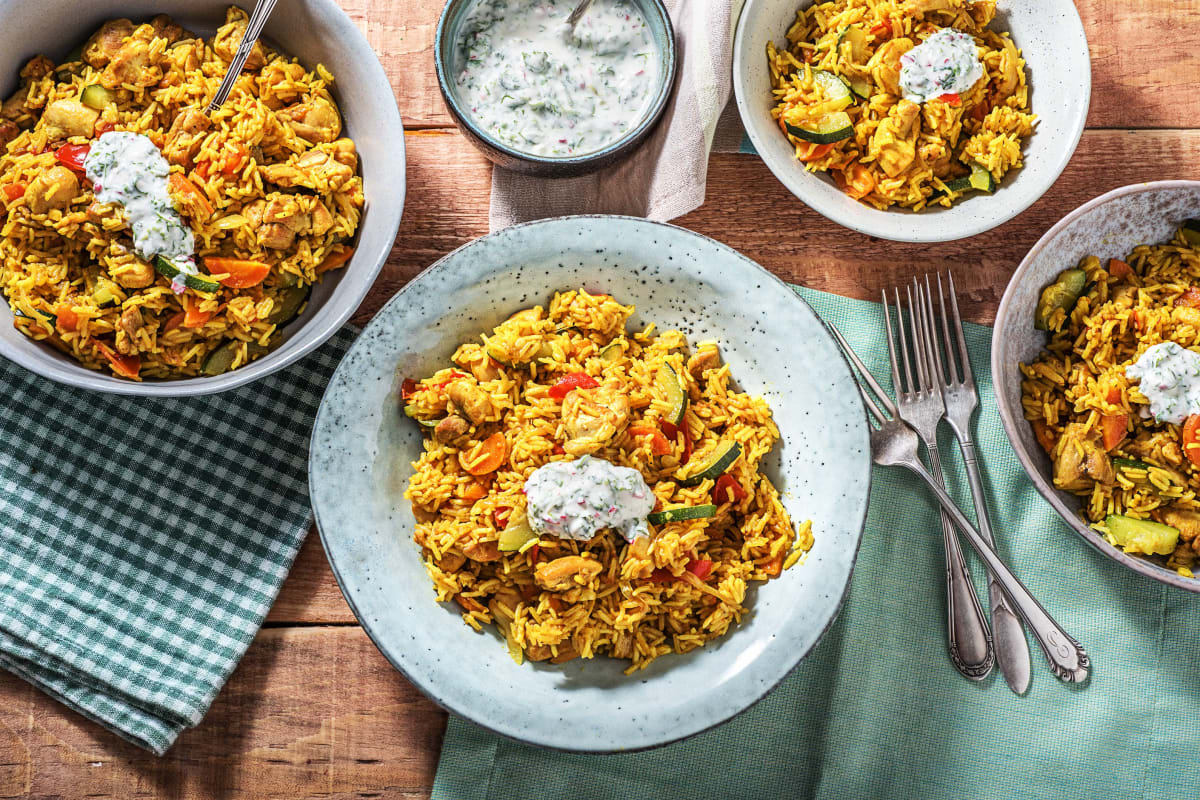 Chicken Biryani With Minty Yoghurt