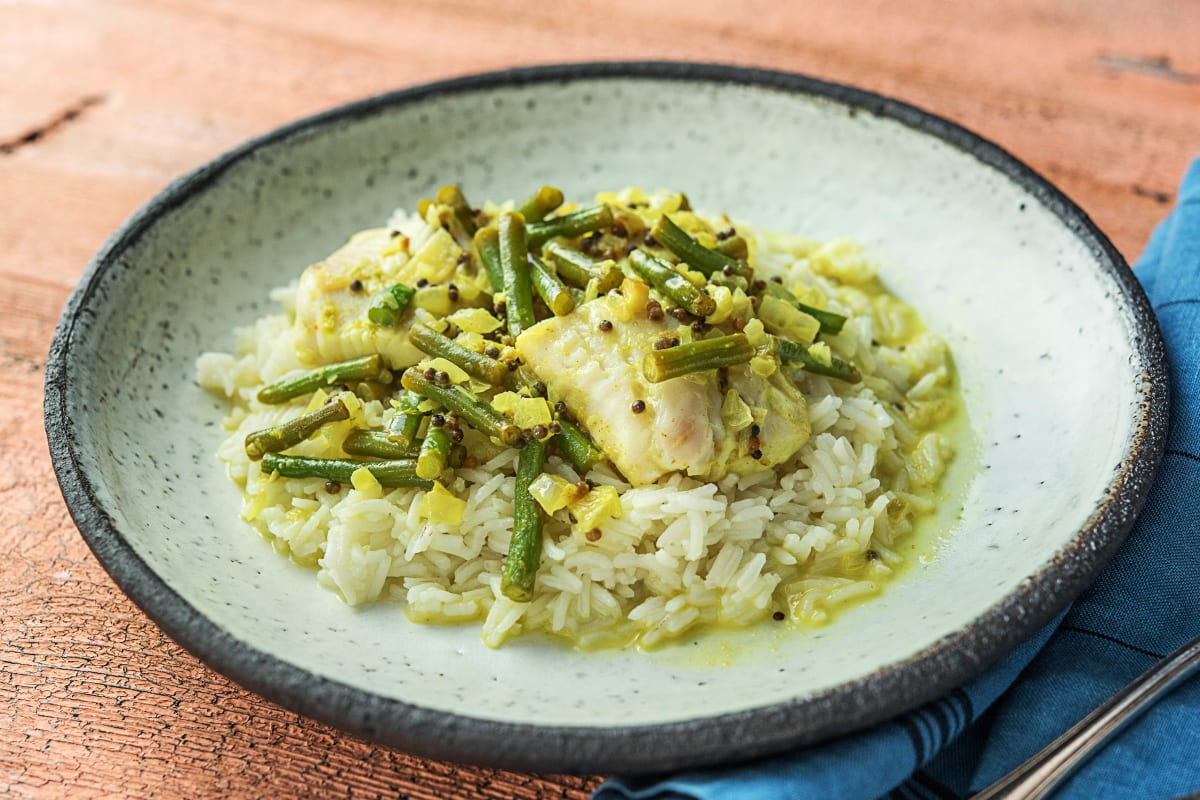 Sri Lankan Fish Curry With Green Beans And Cardamom Rice