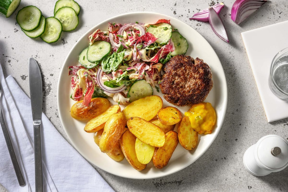 Duitse biefstuk met piccalilly