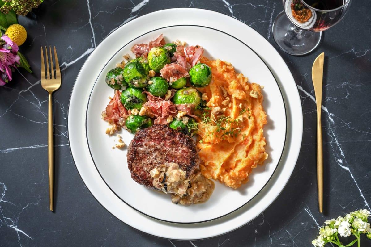Steak haché de bœuf & poêlée de cresson à la coppa