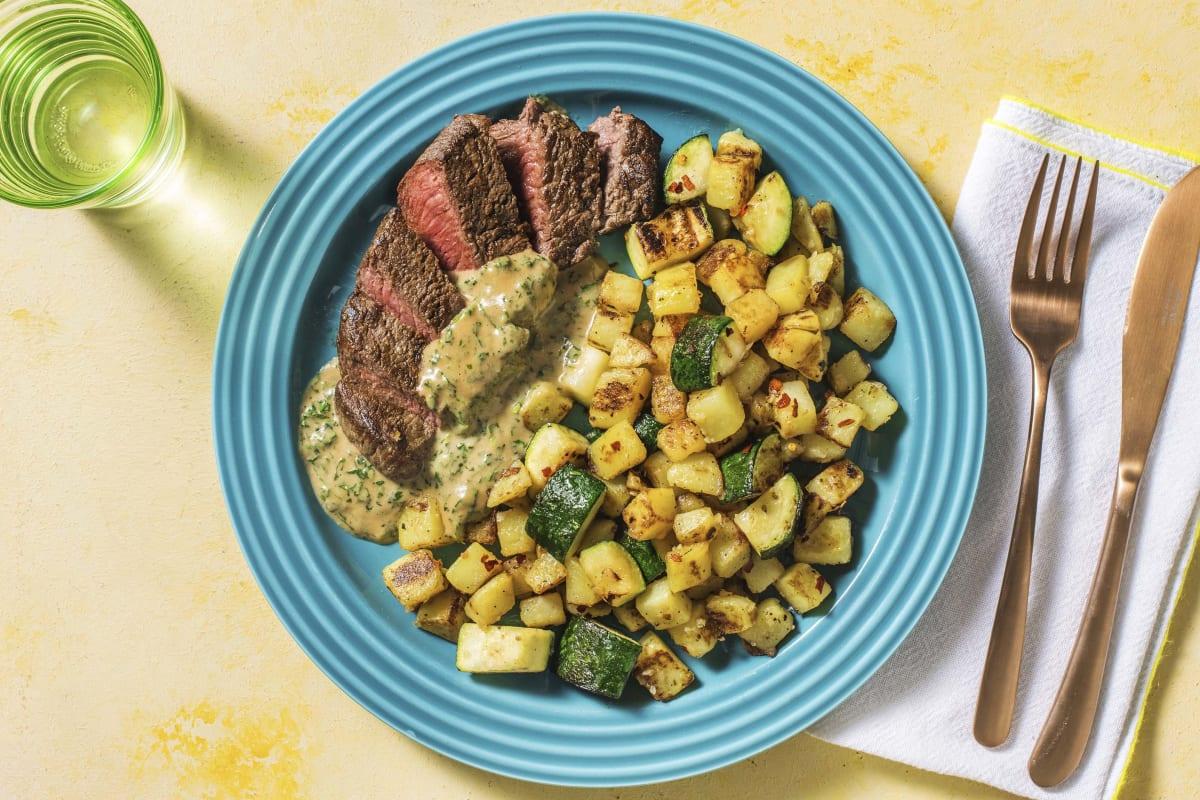 Steak mit Kräuterrahm