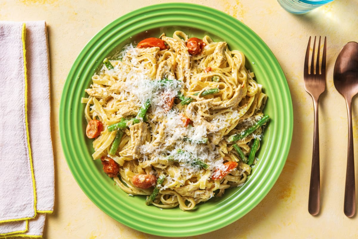 Superquick Lemony Pesto Chicken Pasta