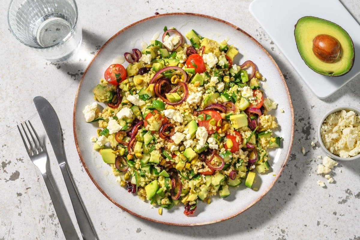 Tabouleh met avocado, komkommer en pistachenoten