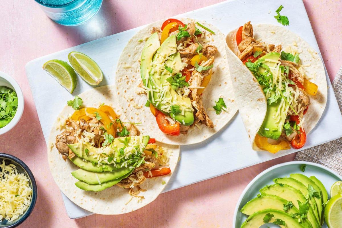 Tacos au poulet & légumes sautés