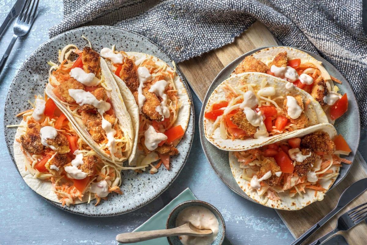 Tacos de poulet croustillant au paprika & chutney de mangue