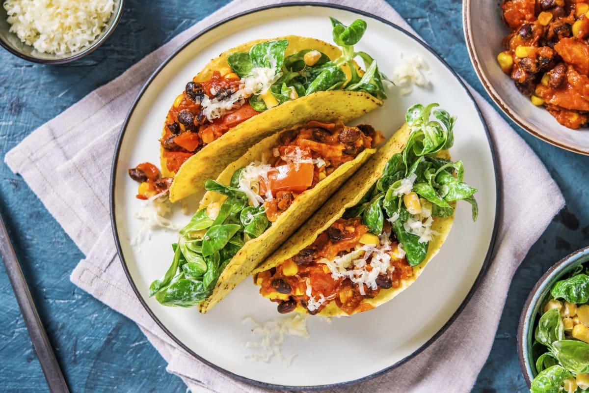 Tacoschelpen met bonen en mais