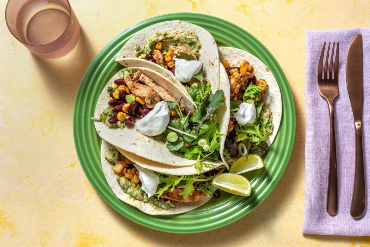 Tacos mit Hähnchen, Mais und Bohnen