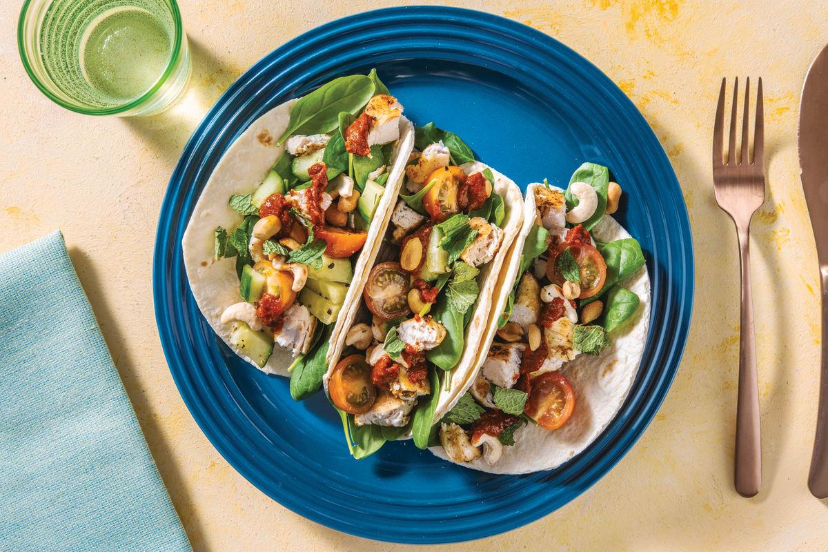 Tandoor Chicken Wraps with Spinach & Salsa
