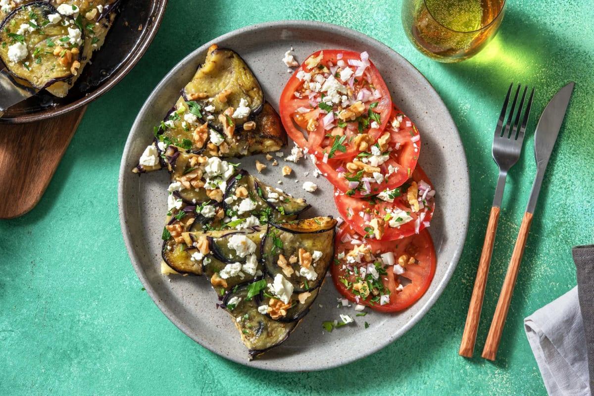 Tatin d'aubergines & carpaccio de tomates