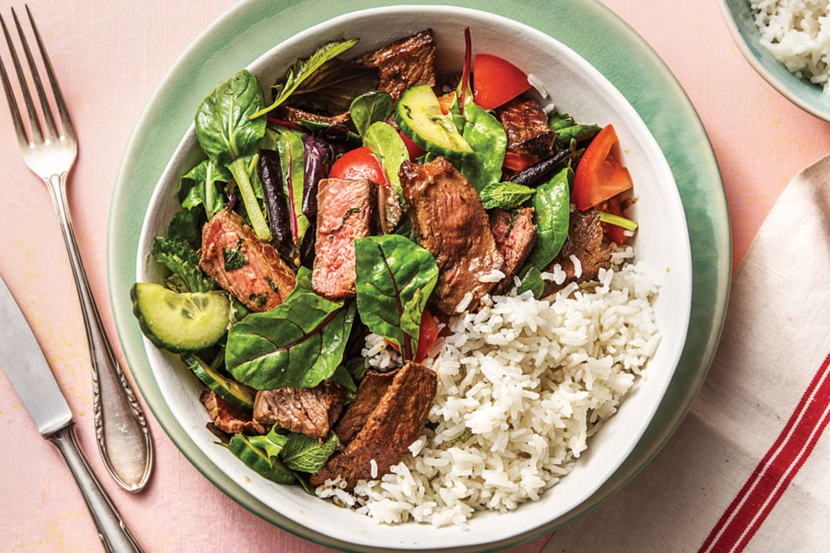 Warm Thai Beef Salad & Coconut Rice