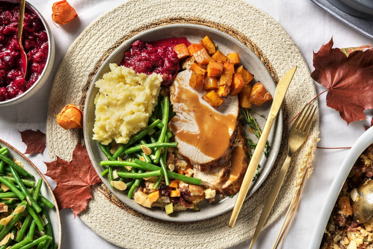 Thyme Roasted Rolled Turkey with Savoury Turkey Gravy