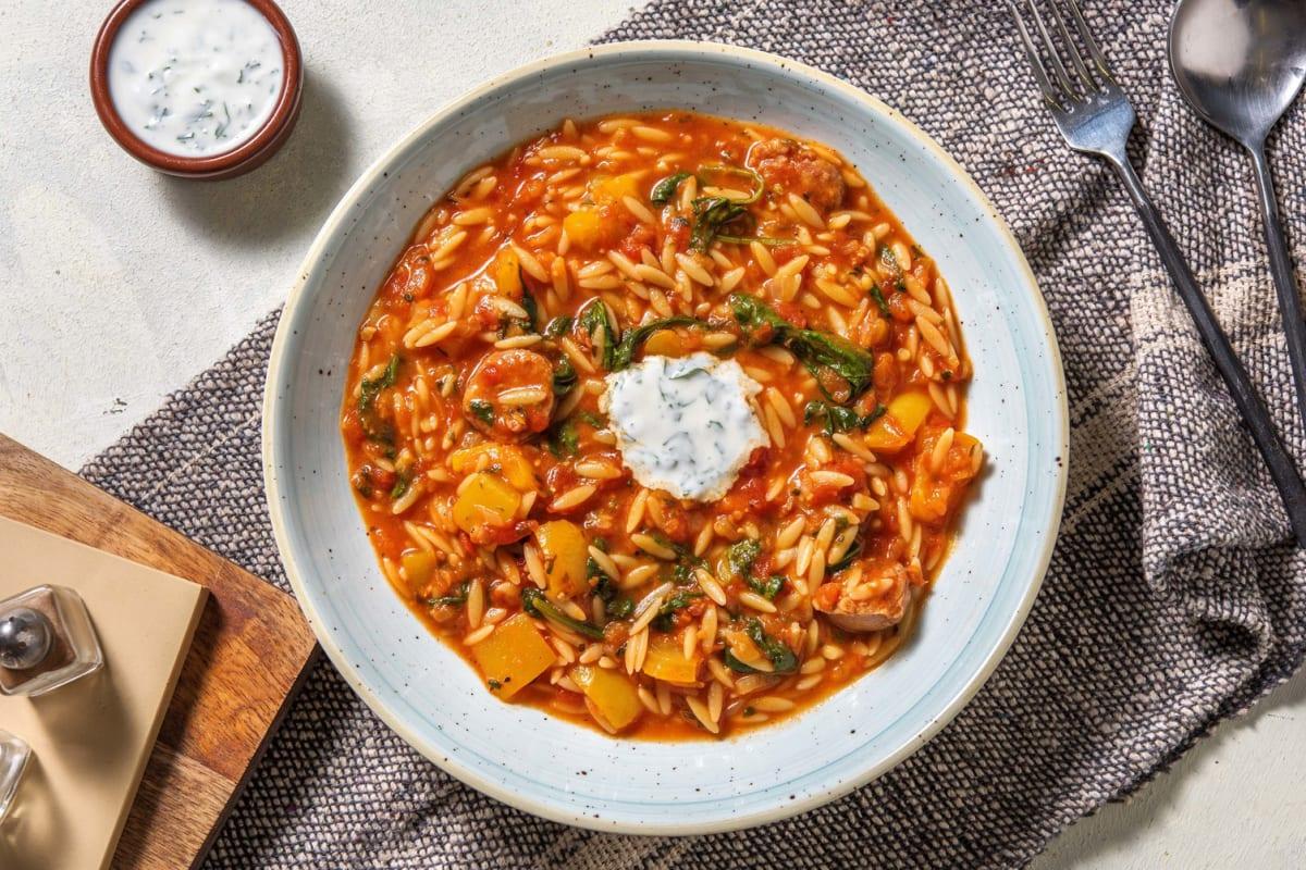 Tomatiger Orzo-Salsiccia-Eintopf