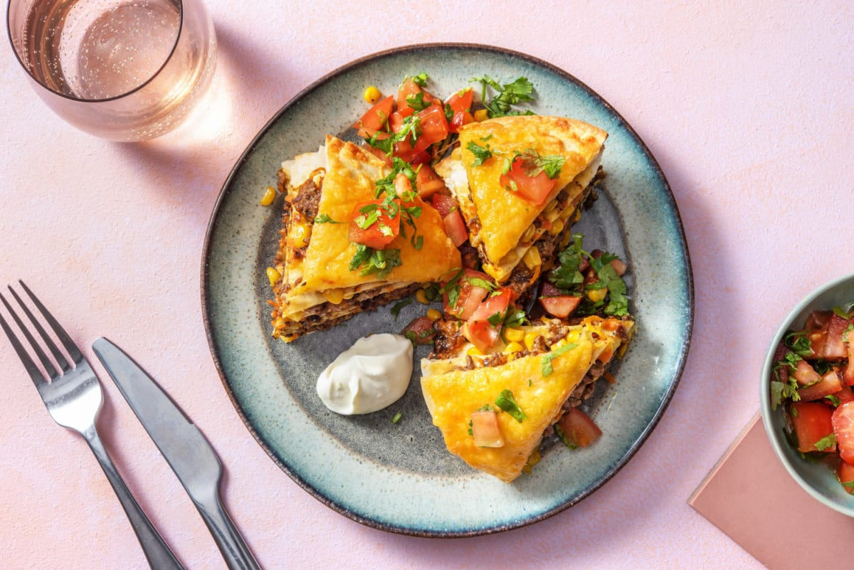 Mexican Beef and Veggie Tortilla Stack