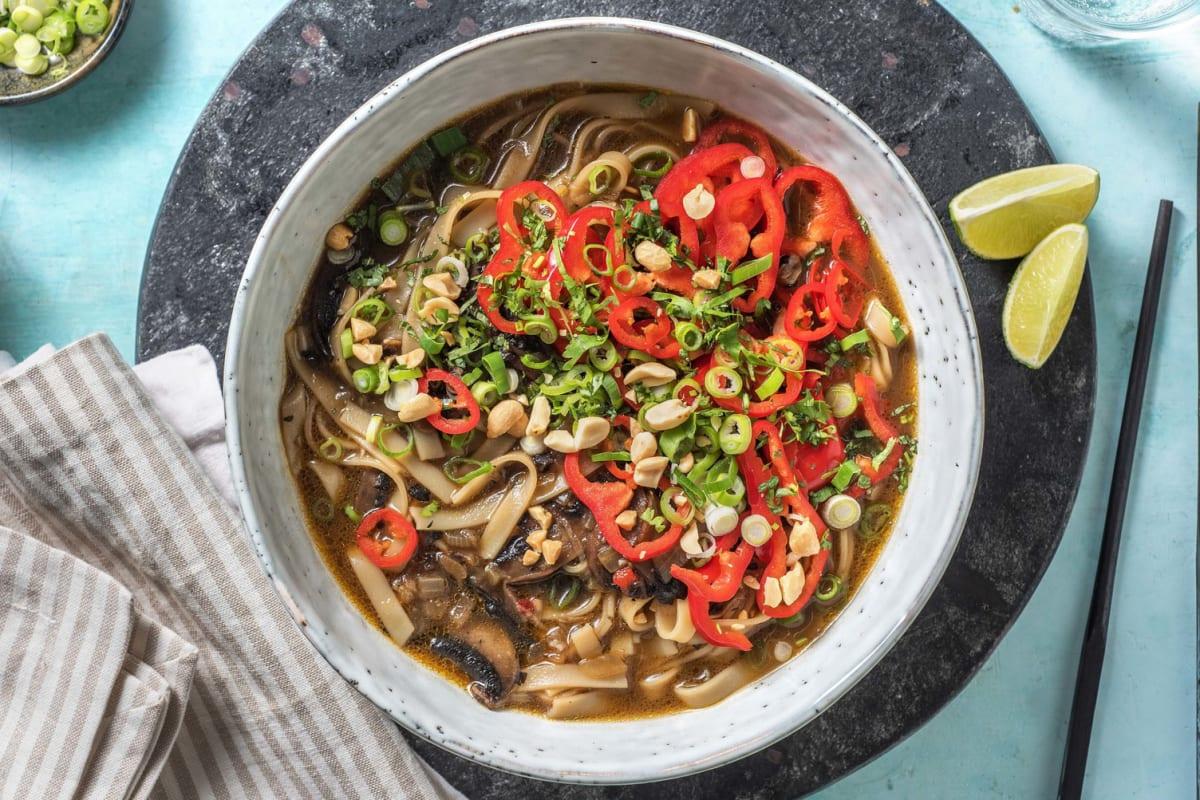Vegetarische pho met portobello
