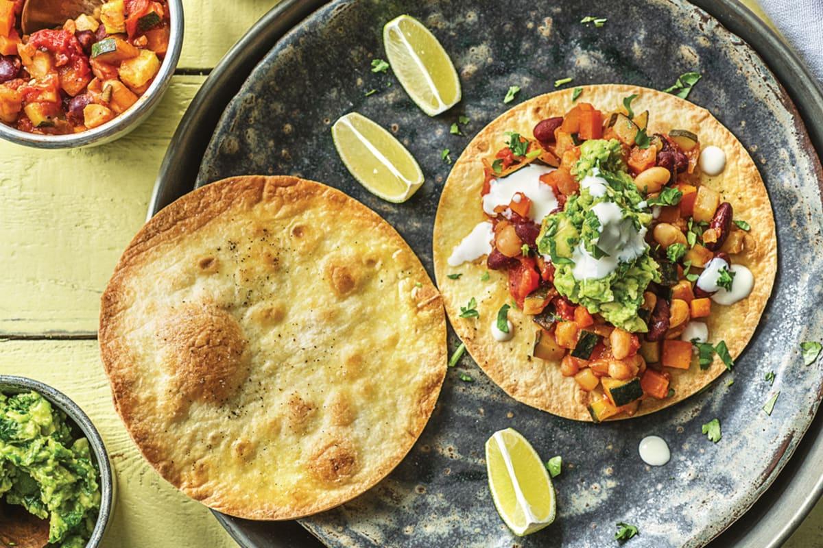 Mexican Veggie Bean & Cheat's Guacamole Tostadas