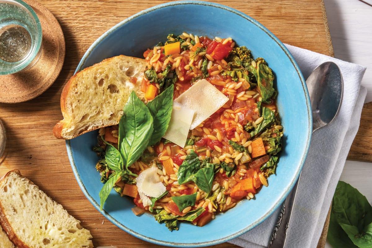Veggie Loaded Kale & Risoni Soup