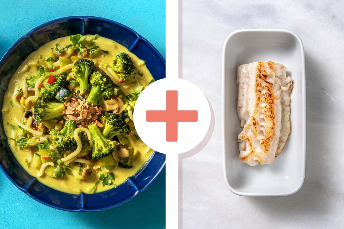 Curry-noedelsoep met kabeljauwfilet als extra
