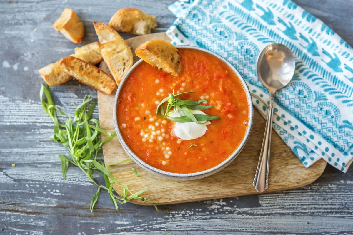 Velouté de tomates et de poivron à l'estragon