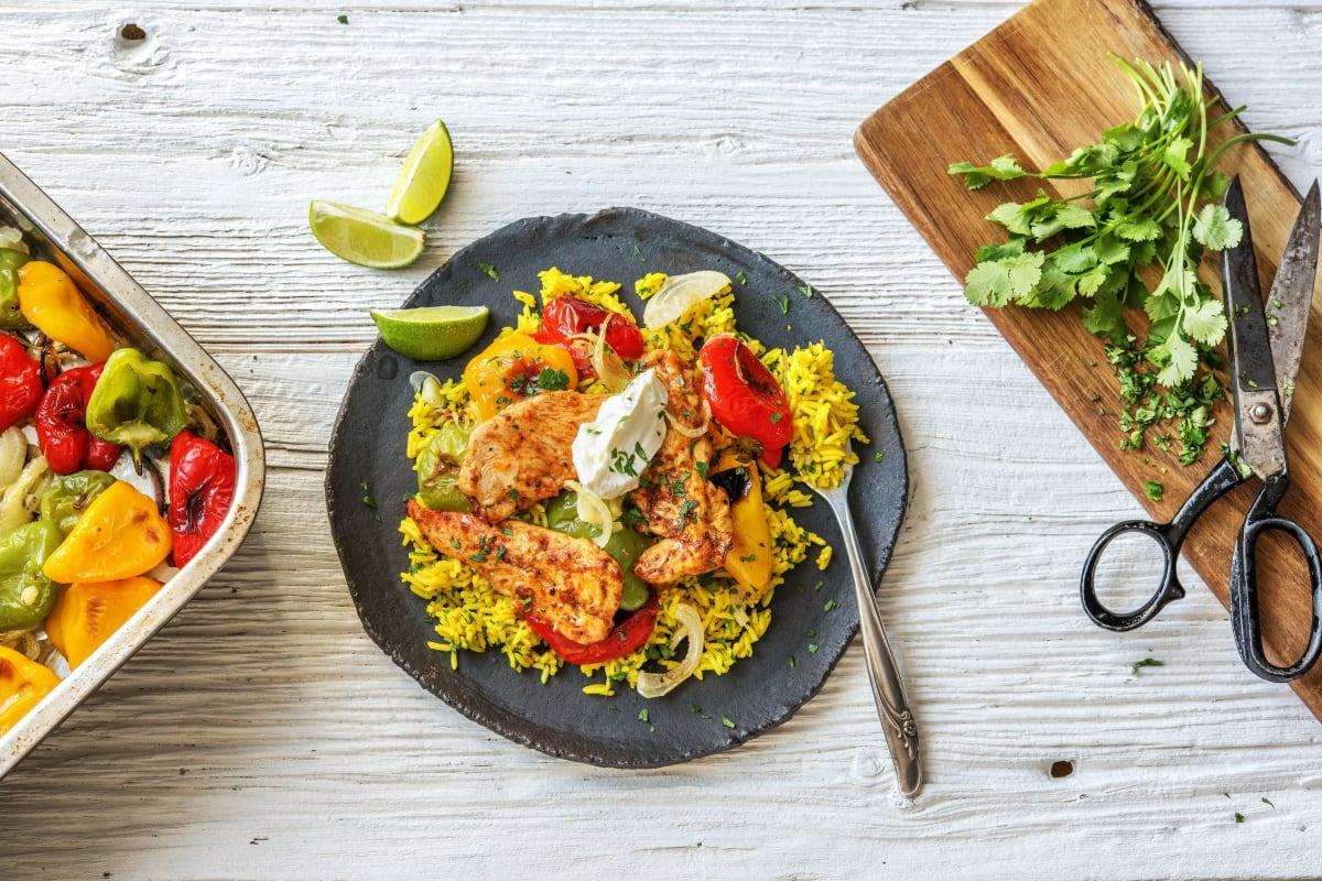 Fajita Chicken Tenders Over Yellow Rice Recipe Hellofresh