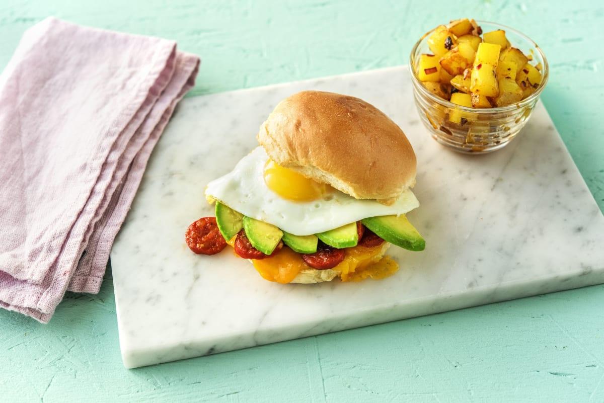 Chorizo, Egg, and Avocado Breakfast Sandwich