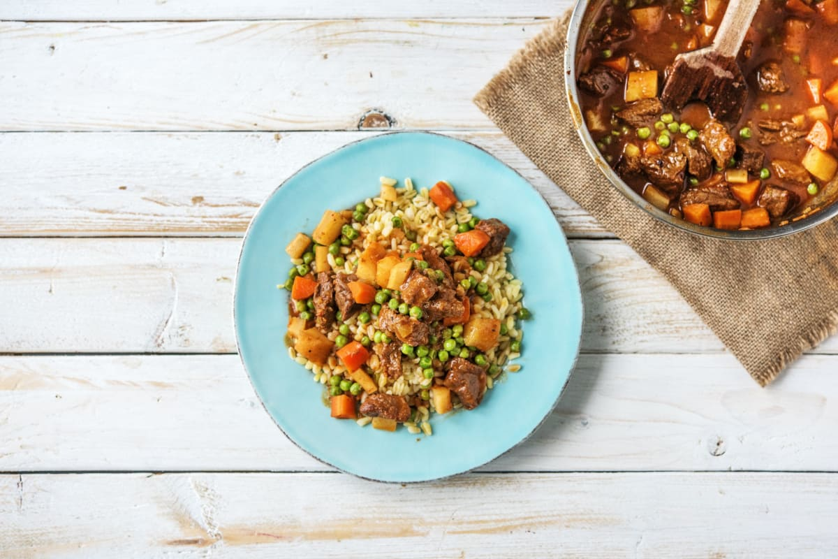 Hearty Beef Stew Over Barley