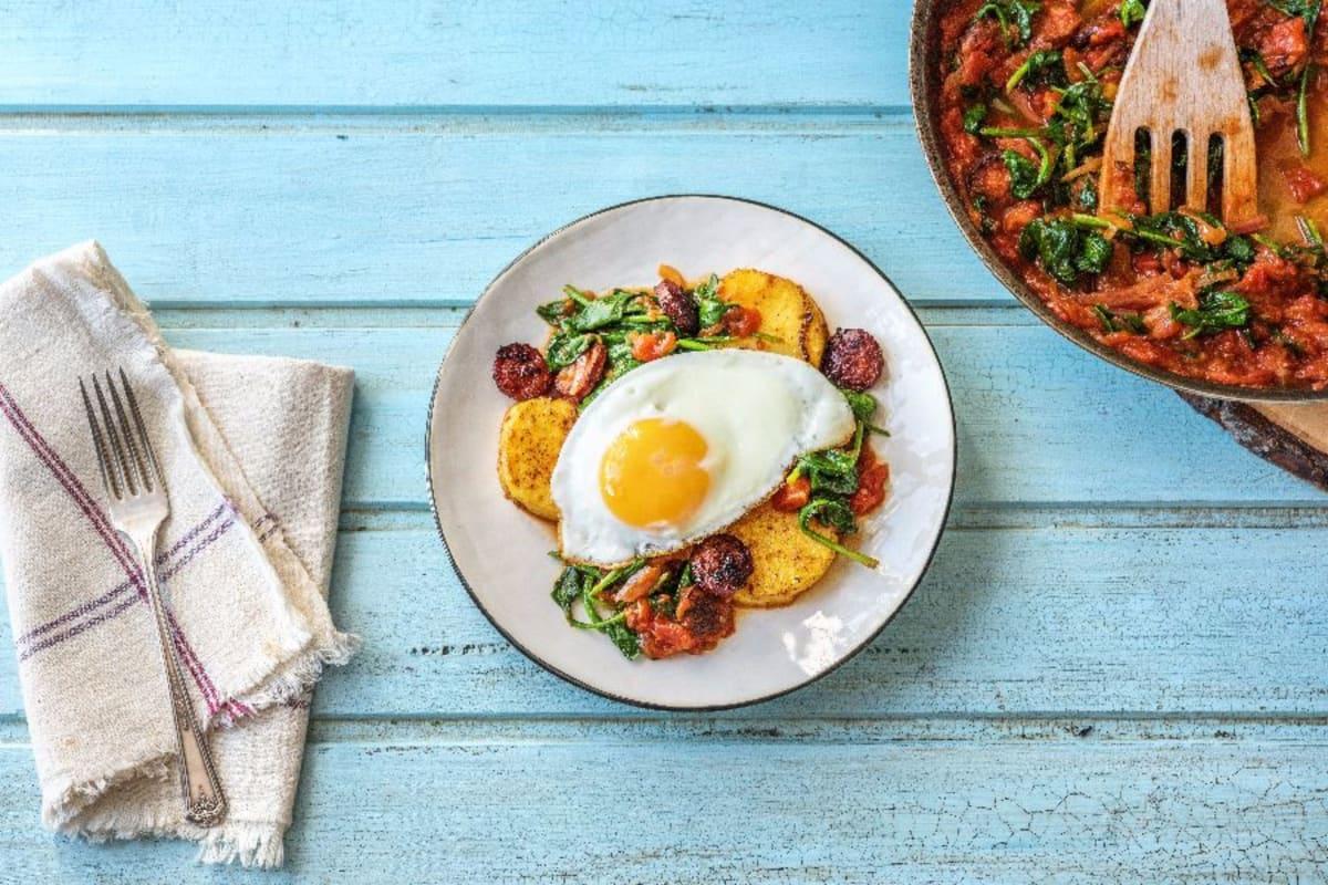 Breakfast Chorizo Egg Polenta Pancakes