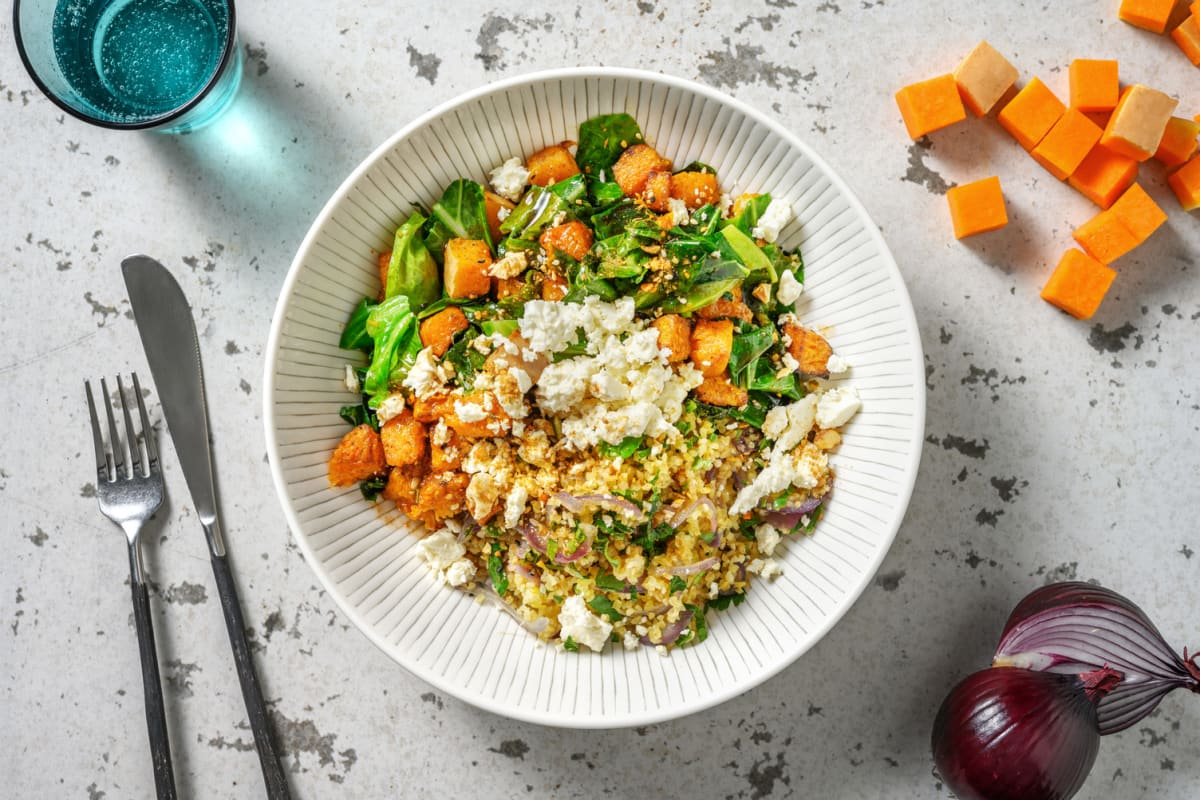 Warm Butternut and Spring Green Salad