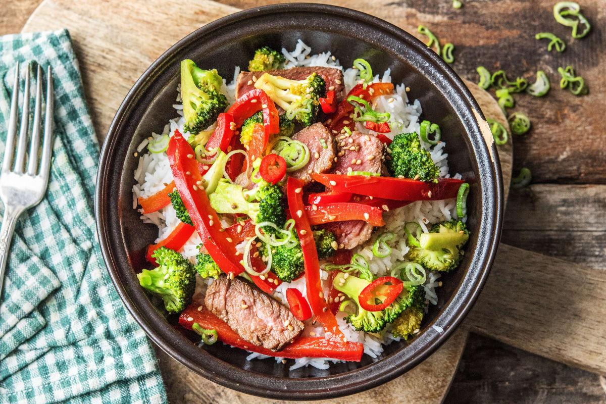 Warm Teriyaki Beef with Broccoli