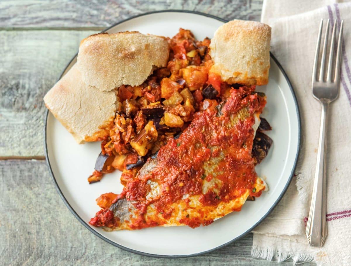 Wijtingfilet met tomatentapenade en ratatouille