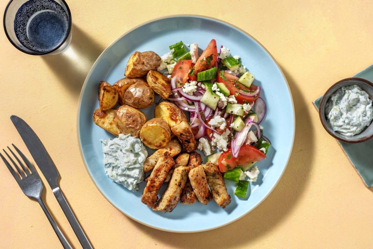 Gyros mit griechischem Salat & Joghurt-Dill-Dip