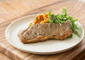 Seared Soy Steak with Sweet Potato Mash image