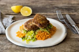 Crumbed Lamb with Pumpkin Mash image