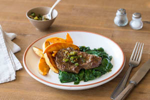Speedy Saucy Steak with Sweet Potato Wedges image