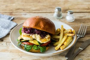 Grilled Zucchini & Haloumi Burger with Parsnip Fries image