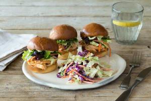 Eastern Carolina Pulled Chicken Sliders on Brioche image