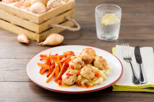 Spiced Turkey Meatballs with Parsnip Mash and Roasted Carrots image
