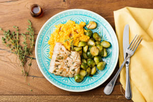 Maple-Balsamic Glazed Cod with Butternut Mash & Roasted Brussels Sprouts image