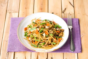 Veggie Lo Mein with Mushrooms, Green Beans, and Sweet Ginger-Soy Sauce image