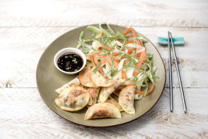 Seth's Asian Pork Dumplings with Quick-Pickled Veggie Salad and Soy Dipping Sauce image
