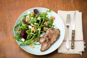Steak with Beetroot, Fetta & Walnut Salad image