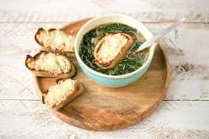 French Onion & Kale Soup with Gruyere Croutons image
