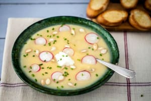 Creamy Pear and Turnip Soup with Radish, Pepitas, and Toasted Baguette image