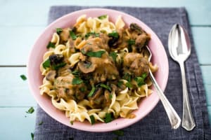 Spiced Swedish Meatballs with Roasted Mushrooms and Egg Noodles image