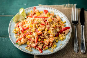 Toasted Thai Rice Bowl with Shrimp, Sweet Corn, and Red Bell Pepper image