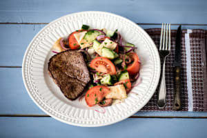 Sumac Lamb Steaks with Fattoush Salad image